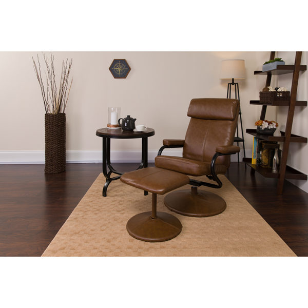 Lowest Price Contemporary Multi-Position Headrest Recliner and Ottoman with Wrapped Base in Palimino Leather