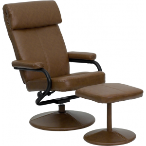 Wholesale Contemporary Multi-Position Headrest Recliner and Ottoman with Wrapped Base in Palimino Leather