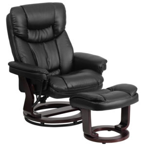 Wholesale Contemporary Multi-Position Recliner and Curved Ottoman with Swivel Mahogany Wood Base in Black Leather
