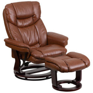 Wholesale Contemporary Multi-Position Recliner and Curved Ottoman with Swivel Mahogany Wood Base in Brown Vintage Leather