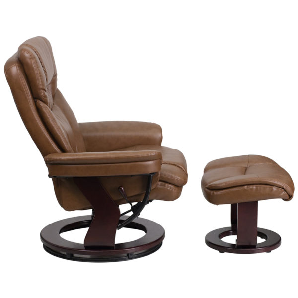 Lowest Price Contemporary Multi-Position Recliner and Curved Ottoman with Swivel Mahogany Wood Base in Palimino Leather