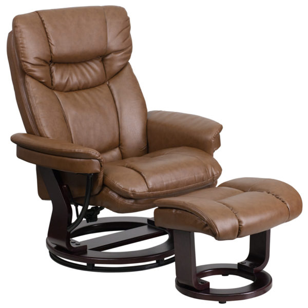 Wholesale Contemporary Multi-Position Recliner and Curved Ottoman with Swivel Mahogany Wood Base in Palimino Leather