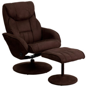 Wholesale Contemporary Multi-Position Recliner and Ottoman with Circular Wrapped Base in Brown Microfiber