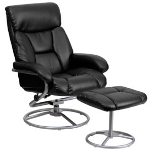 Wholesale Contemporary Multi-Position Recliner and Ottoman with Metal Base in Black Leather
