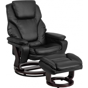 Wholesale Contemporary Multi-Position Recliner and Ottoman with Swivel Mahogany Wood Base in Black Leather