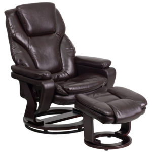 Wholesale Contemporary Multi-Position Recliner and Ottoman with Swivel Mahogany Wood Base in Brown Leather