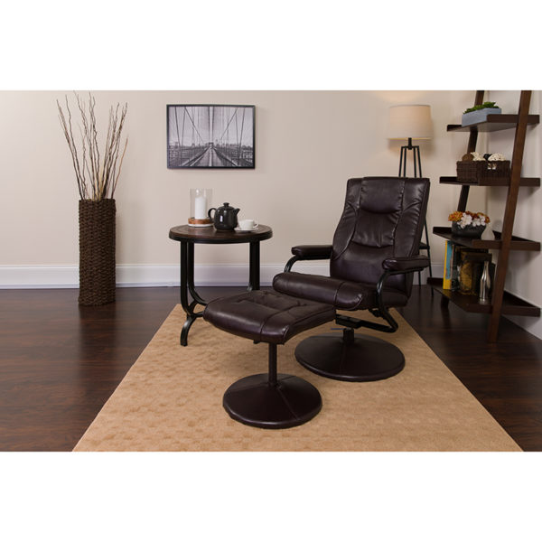 Lowest Price Contemporary Multi-Position Recliner and Ottoman with Wrapped Base in Brown Leather