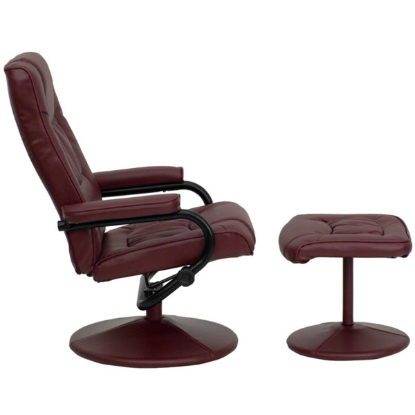 Lowest Price Contemporary Multi-Position Recliner and Ottoman with Wrapped Base in Burgundy Leather