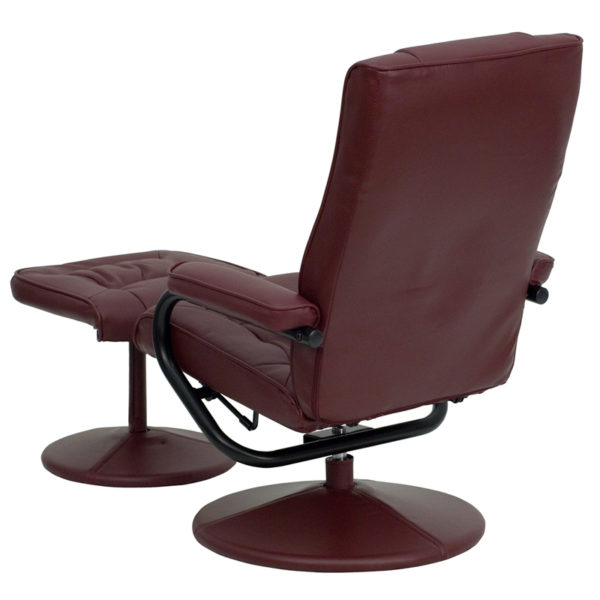 Recliner and Ottoman Set Burgundy Leather Recliner
