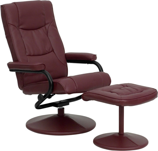 Wholesale Contemporary Multi-Position Recliner and Ottoman with Wrapped Base in Burgundy Leather