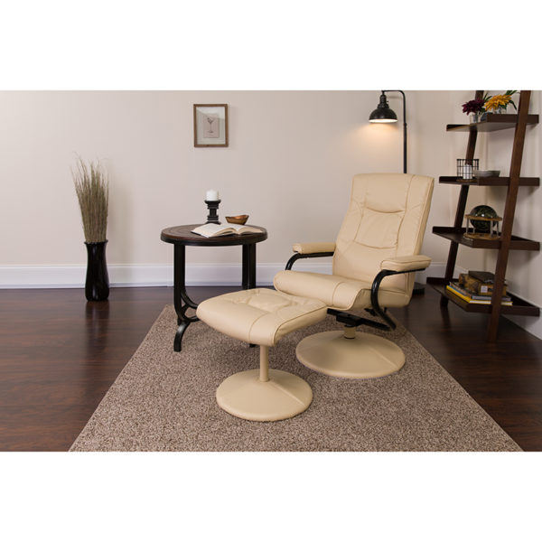 Lowest Price Contemporary Multi-Position Recliner and Ottoman with Wrapped Base in Cream Leather
