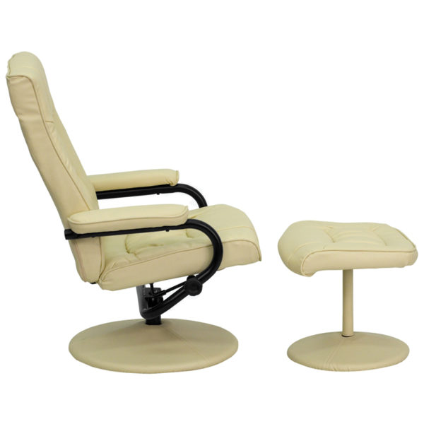 Recliner and Ottoman Set Cream Leather Recliner&Ottoman