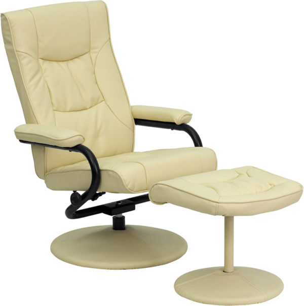 Wholesale Contemporary Multi-Position Recliner and Ottoman with Wrapped Base in Cream Leather