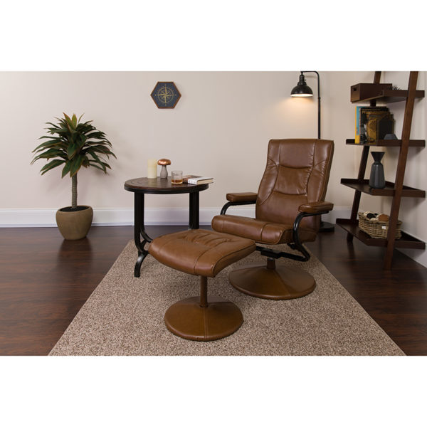 Lowest Price Contemporary Multi-Position Recliner and Ottoman with Wrapped Base in Palimino Leather