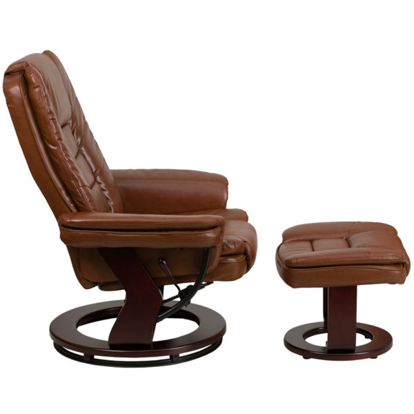 Lowest Price Contemporary Multi-Position Recliner with Horizontal Stitching and Ottoman with Swivel Mahogany Wood Base in Brown Vintage Leather