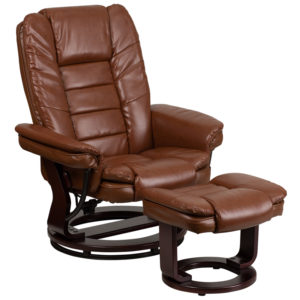 Wholesale Contemporary Multi-Position Recliner with Horizontal Stitching and Ottoman with Swivel Mahogany Wood Base in Brown Vintage Leather