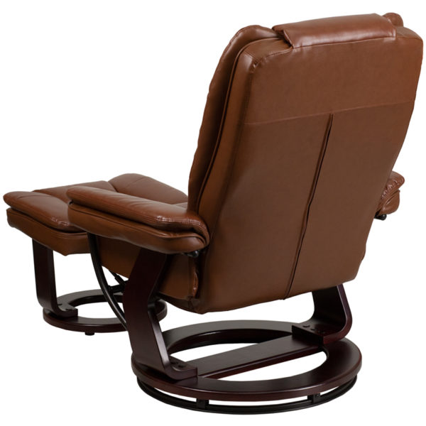 Recliner and Ottoman Set Brown Leather Recliner&Ottoman