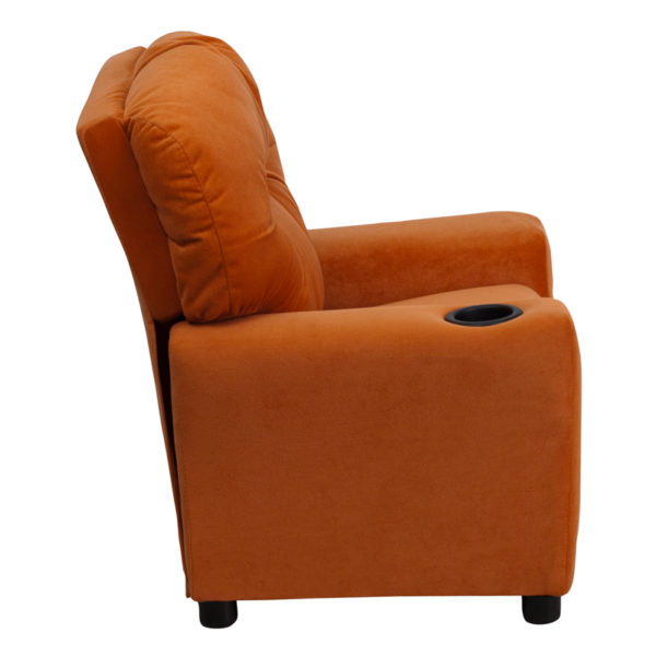 Lowest Price Contemporary Orange Microfiber Kids Recliner with Cup Holder