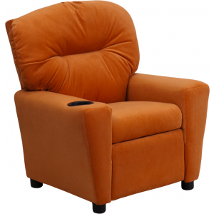 Wholesale Contemporary Orange Microfiber Kids Recliner with Cup Holder