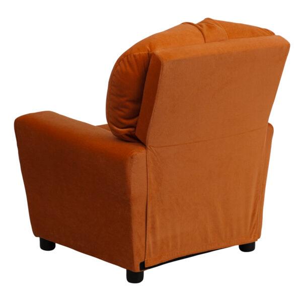 Child Sized Recliner Chair Orange Micro Kids Recliner