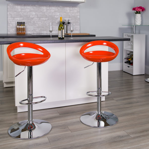 Lowest Price Contemporary Orange Plastic Adjustable Height Barstool with Rounded Cutout Back and Chrome Base