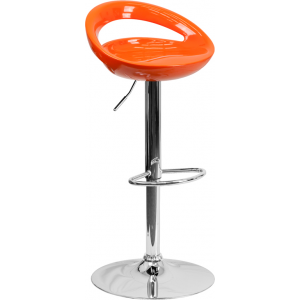 Wholesale Contemporary Orange Plastic Adjustable Height Barstool with Rounded Cutout Back and Chrome Base