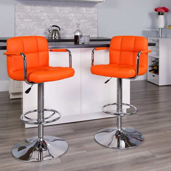 Lowest Price Contemporary Orange Quilted Vinyl Adjustable Height Barstool with Arms and Chrome Base