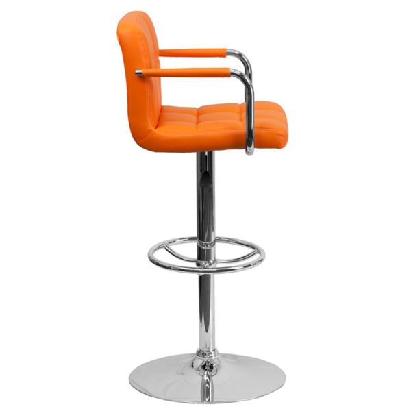 Contemporary Style Stool Orange Quilted Vinyl Barstool