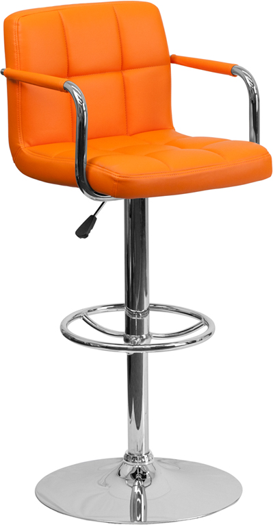 Wholesale Contemporary Orange Quilted Vinyl Adjustable Height Barstool with Arms and Chrome Base