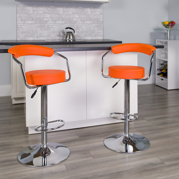 Lowest Price Contemporary Orange Vinyl Adjustable Height Barstool with Arms and Chrome Base