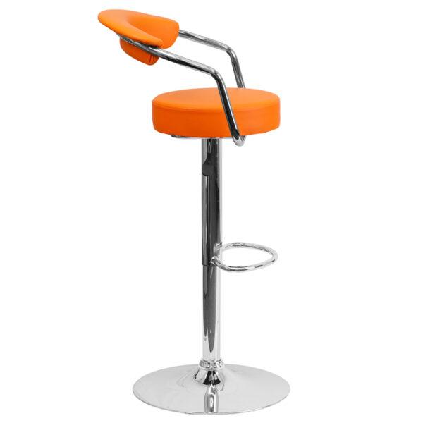 Retro Style Stool Orange Vinyl Barstool