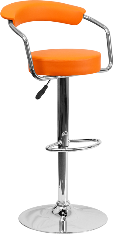 Wholesale Contemporary Orange Vinyl Adjustable Height Barstool with Arms and Chrome Base