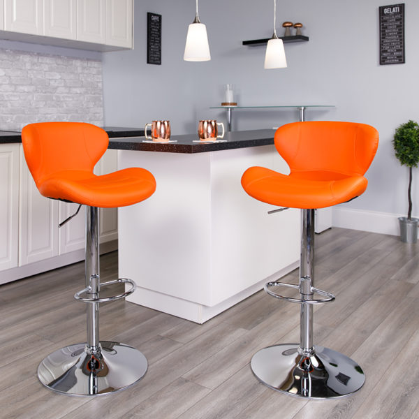 Lowest Price Contemporary Orange Vinyl Adjustable Height Barstool with Curved Back and Chrome Base