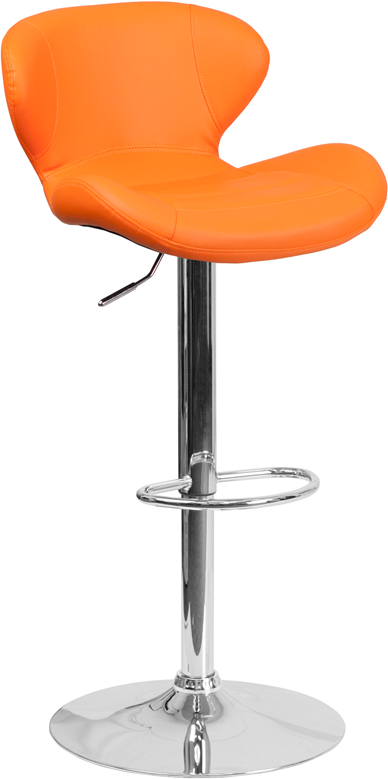 Contemporary Orange Vinyl Adjustable Height Bar Stool with Chrome Base