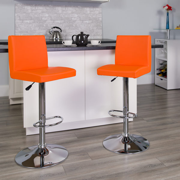 Lowest Price Contemporary Orange Vinyl Adjustable Height Barstool with Panel Back and Chrome Base