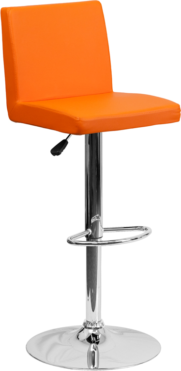 Wholesale Contemporary Orange Vinyl Adjustable Height Barstool with Panel Back and Chrome Base