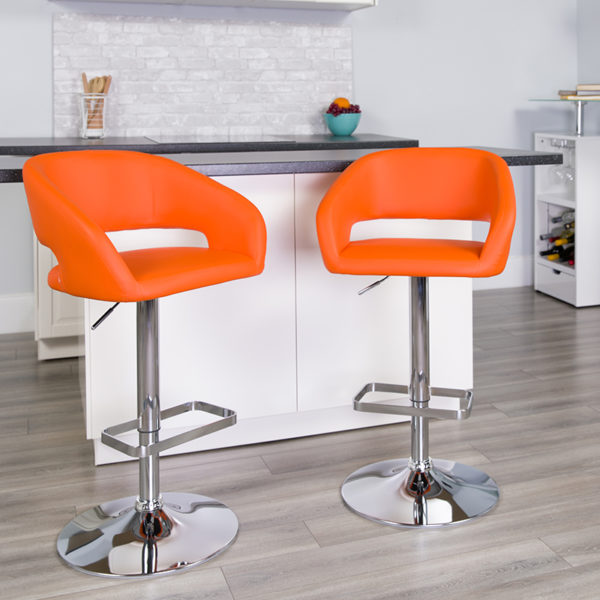 Lowest Price Contemporary Orange Vinyl Adjustable Height Barstool with Rounded Mid-Back and Chrome Base