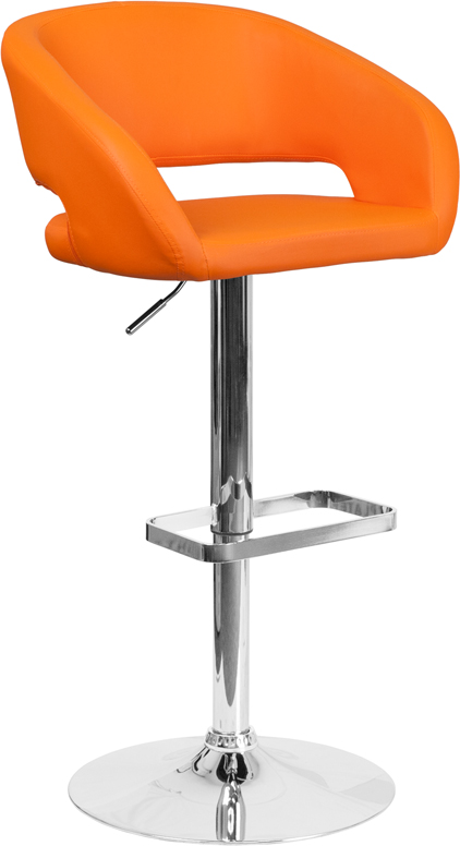 Wholesale Contemporary Orange Vinyl Adjustable Height Barstool with Rounded Mid-Back and Chrome Base