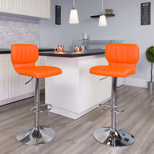 Lowest Price Contemporary Orange Vinyl Adjustable Height Barstool with Vertical Stitch Back and Chrome Base