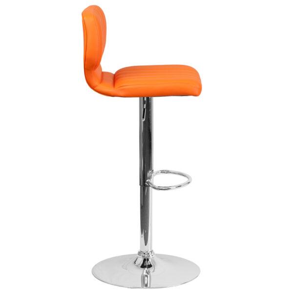 Contemporary Style Stool Orange Vinyl Barstool