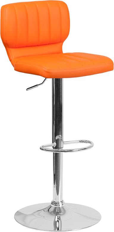 Wholesale Contemporary Orange Vinyl Adjustable Height Barstool with Vertical Stitch Back and Chrome Base