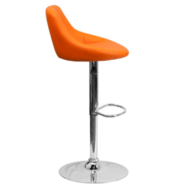 Lowest Price Contemporary Orange Vinyl Bucket Seat Adjustable Height Barstool with Diamond Pattern Back and Chrome Base