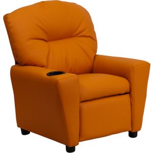 Wholesale Contemporary Orange Vinyl Kids Recliner with Cup Holder