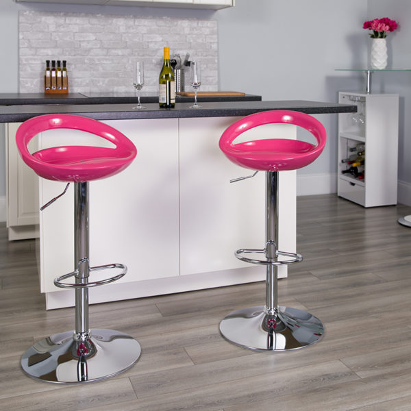 Lowest Price Contemporary Pink Plastic Adjustable Height Barstool with Rounded Cutout Back and Chrome Base