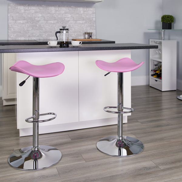 Lowest Price Contemporary Pink Vinyl Adjustable Height Barstool with Wavy Seat and Chrome Base