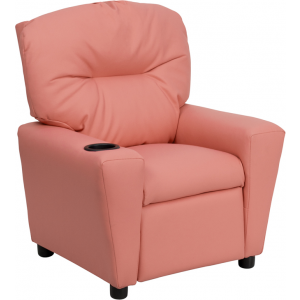 Wholesale Contemporary Pink Vinyl Kids Recliner with Cup Holder