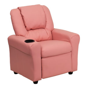 Wholesale Contemporary Pink Vinyl Kids Recliner with Cup Holder and Headrest