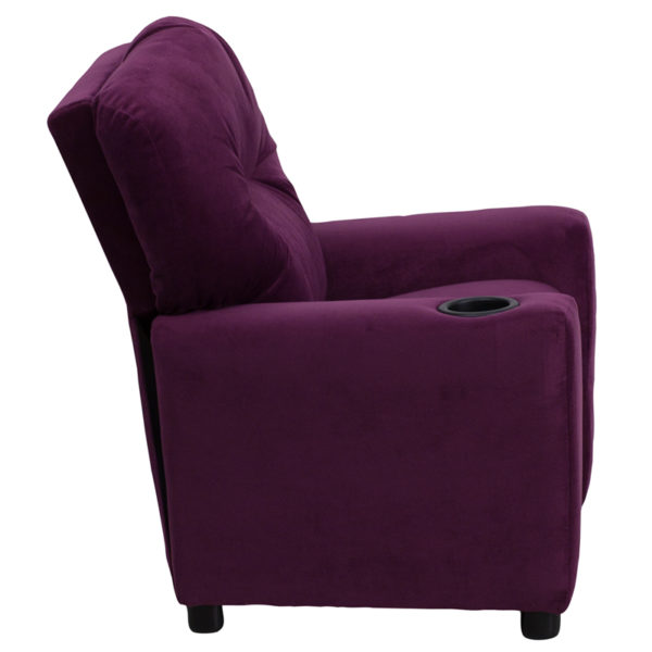 Lowest Price Contemporary Purple Microfiber Kids Recliner with Cup Holder