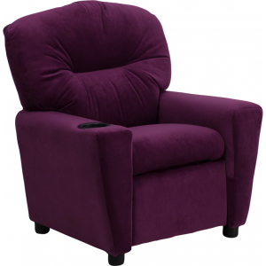 Wholesale Contemporary Purple Microfiber Kids Recliner with Cup Holder