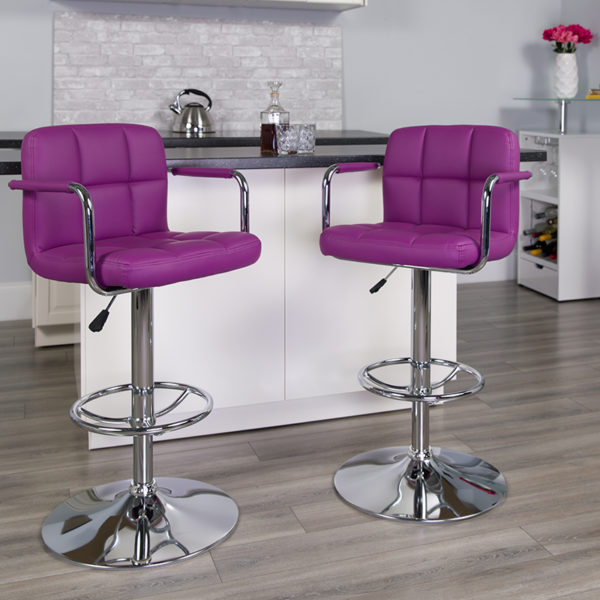Lowest Price Contemporary Purple Quilted Vinyl Adjustable Height Barstool with Arms and Chrome Base